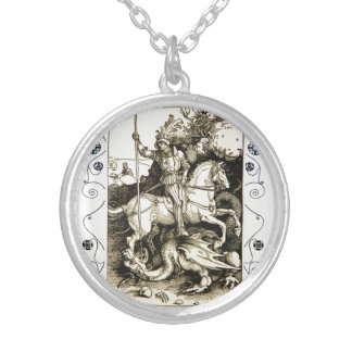 ST. GEORGE AND DRAGON , Black White Silver Plated Necklace