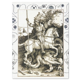ST. GEORGE AND DRAGON , Black White Tissue Paper