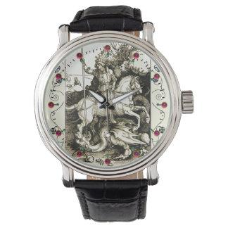 ST. GEORGE AND DRAGON , Black White Wristwatch