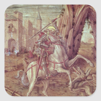 St. George and the Dragon Square Sticker