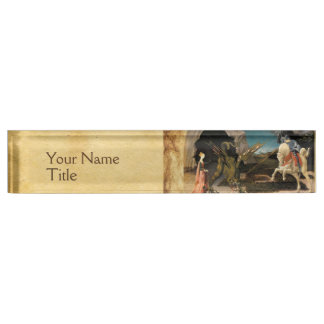 ST. GEORGE,DRAGON AND PRINCESS PARCHMENT NAME PLATE