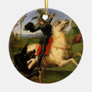 St. George Fights the Dragon Fine Art Round Ceramic Ornament