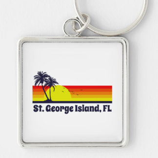 St. George Island Florida Silver-Colored Square Keychain
