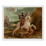 St. George slaying the dragon, (oil on panel) Poster
