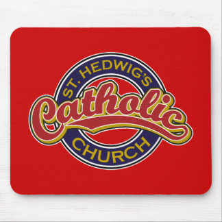 St. Hedwig's Catholic Church Red on Blue Mouse Pad