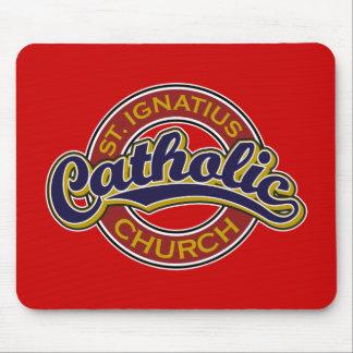 St. Ignatius Catholic Church Blue on Red Mouse Pad