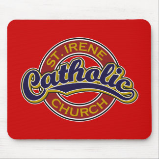 St. Irene Catholic Church Blue on Red Mouse Pad