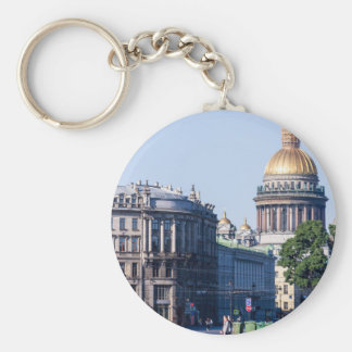 St Isaac's Cathedral St Petersburg Russia Basic Round Button Keychain