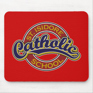 St. Isidore Catholic School Blue on Red Mousepad