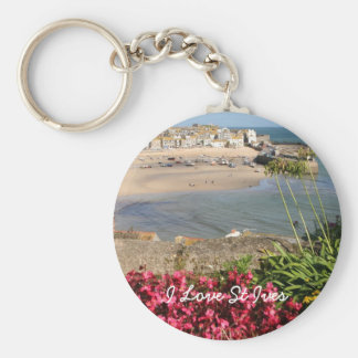 St Ives Harbour Pink Flowers Basic Round Button Keychain