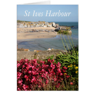 St Ives Harbour Pink Flowers Card