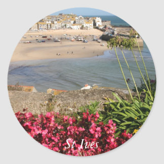 St Ives Harbour Pink Flowers Round Sticker