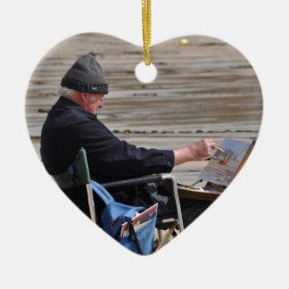 st ives painter ceramic heart ornament