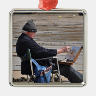 st ives painter Silver-Colored square ornament