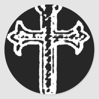 St James Cross inverted Classic Round Sticker