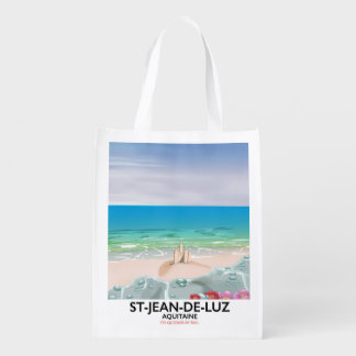 St-Jean-de-Luz, Aquitaine Travel poster Reusable Grocery Bag