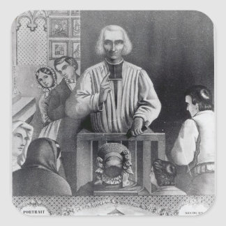 St. Jean-Marie Vianney  preaching, 19th century Square Stickers