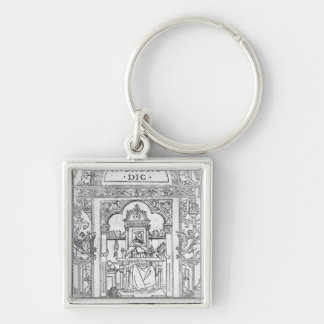 St. Jerome in his Study Silver-Colored Square Keychain