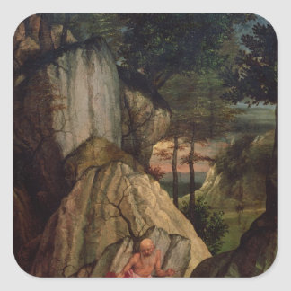 St. Jerome Meditating in the Desert, 1506 Square Sticker