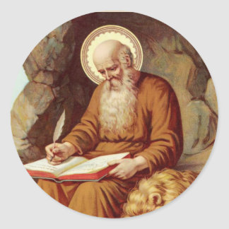 St. Jerome writing Scripture with lion Classic Round Sticker