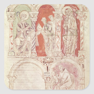 St. John Cassian writing and monks offering Square Sticker