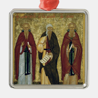 St. John Climacus  St. John of Damascus Silver-Colored Square Ornament
