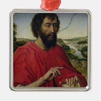 St. John the Baptist 2 Silver-Colored Square Ornament