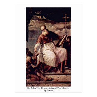 St. John The Evangelist And The Charity By Titian Postcard
