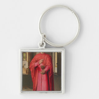 St. John the Evangelist Silver-Colored Square Keychain