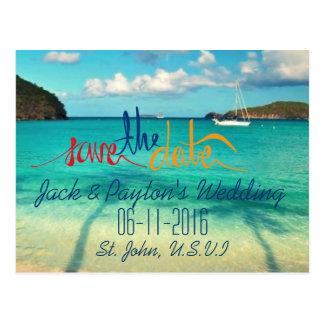 St. John Wedding Tropical Beach Save the Date Postcard
