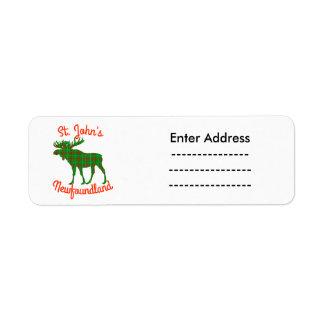 St. John's Newfoundland  Sticker labels moose
