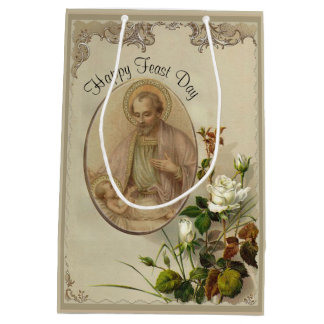 St. Joseph Baby Jesus Floral Lily Feast Day Medium Gift Bag