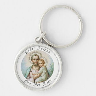 St. Joseph Baby Jesus Lily Silver-Colored Round Keychain