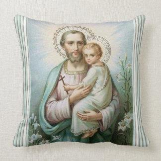 St. Joseph Baby Jesus St. Michael Archangel Throw Pillow