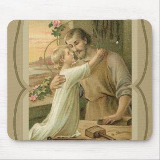 St. Joseph & Child Jesus Decorative Gold Mouse Pad