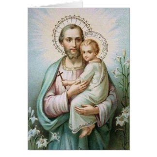 St. Joseph Child Jesus Lily Cross Card