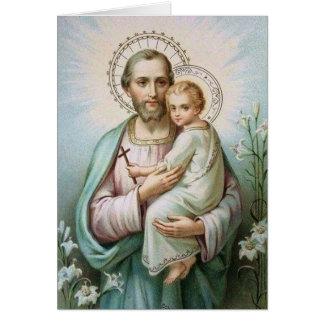 St. Joseph Child Jesus Lily Cross Card