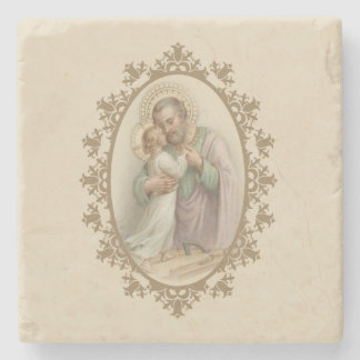 St. Joseph Child Jesus Traditional Carpenter Stone Coaster