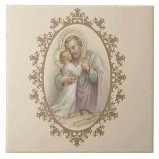 St. Joseph Child Jesus Traditional Catholic Tile
