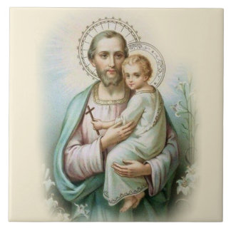 St. Joseph Child Jesus Traditional Lilies Tile