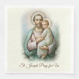 St. Joseph Day Child Jesus Cross Feast Day Paper Dinner Napkin