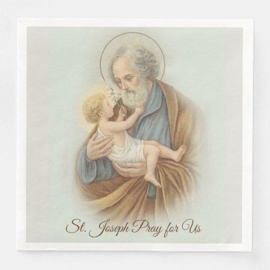 St. Joseph Day Child Jesus Feast Day Paper Dinner Napkin