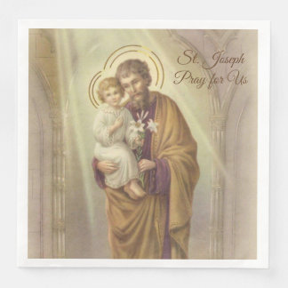 St. Joseph Day Child Jesus Lilies Feast Day Paper Dinner Napkin