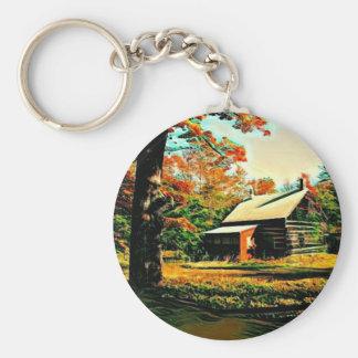 St Joseph Island Log Cabin Basic Round Button Keychain