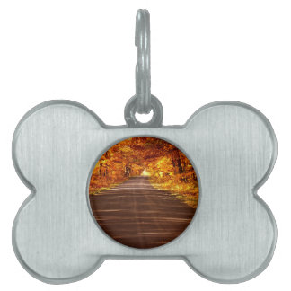 St Joseph Island roadway in full Fall colour Pet Name Tag