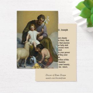 St. Joseph Jesus Lily  Lamb  Memorare Prayer Business Card