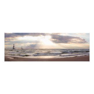St. Joseph Lighthouse Michigan Lake at Sunset Photo Print