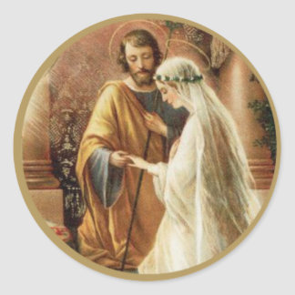 St. Joseph Mary Engagement Wedding Bride Groom Round Sticker