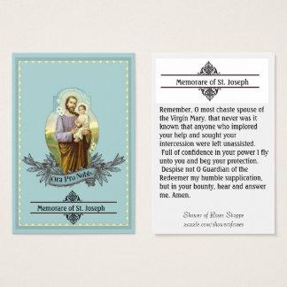 St. Joseph  Memorare Prayer Holy Card