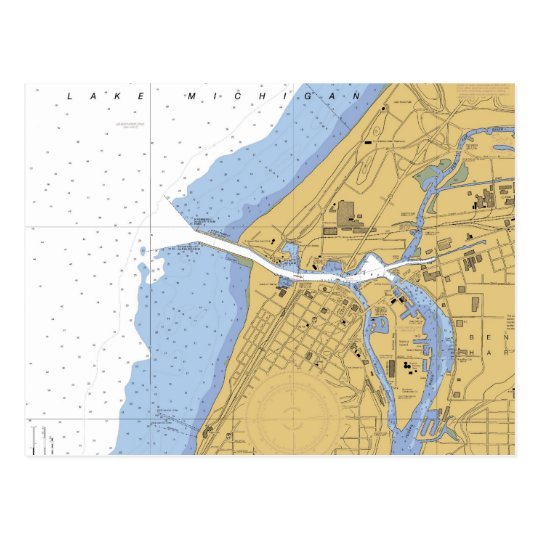 St Joseph, MI Nautical Harbour Chart Postcard